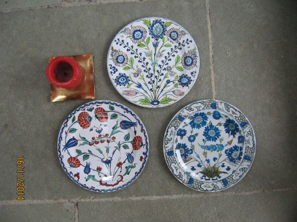 Gift Wrapped Set of 6 Iznik and Turkish themed Decorative Tin Plates